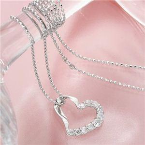 【送料無料】K18WG 0.3ctハートダイヤペンダント