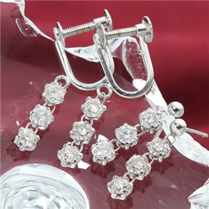 【送料無料】ホワイトゴールド 0.6ctダイヤモンド3ストーンピアスorイヤリング ピアス